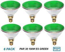 6 x GREEN PAR38 100W Reflector Floodlight Light Globes / Bulbs ES Screw