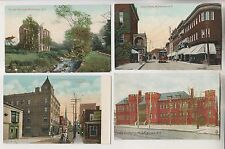 4 VINTAGE POSTCARDS - OLD MILL - JAMES ST - KING ST - ARMORY - MIDDLETOWN NY