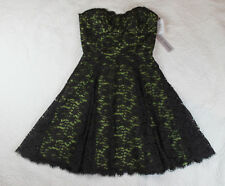 Steve Madden Dress 4 Strapless Brown Green Lace Party Prom Short w5