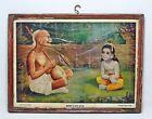 Vintage Art Print Hindu God Krishna Original Old With Frame