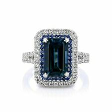Engagement Ring In 925 Sterling Silver 5.35Ct Blue Sapphire Emerald Double Halo