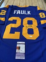 Marshall Faulk Autographed/Signed Jersey JSA COA Los Angeles Rams LA