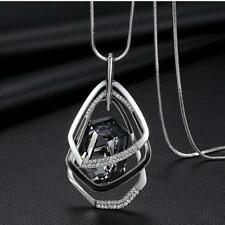 Silver Plated Geometric Framed Cubic Zirconia Dark Quartz Pendant Necklace USA