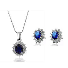Queen Design Sapphire Royal Blue Jewellery Set Stud Earrings & Necklace S358
