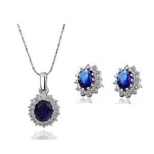 Queen Design Sapphire Royal Blue Jewellery Set Stud Earrings & Necklace S358