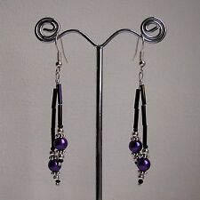 New Handmade Purple Bugle & Glass Pearl Silver Bead Silver Plated Drop Earrings