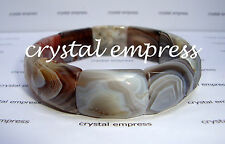 FENG SHUI - HIGH GRADE FACETED 22MM BOTSWANA AGATE BANGLE CUFF BRACELET