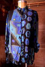 CHICO's DESIGN Womens Muliti-Colored Tribal Sheer Button Down Shirt Blouse Sz 1