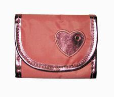 Girls Metallic Tri-Fold Wallets With Heart Design - Pink