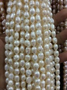 "5-6MM White irregular freshwater pearl loose beads 15 "" AAA+++"