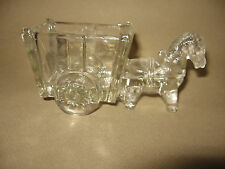 Glass Horse and Cart Figure Decoration Vintage