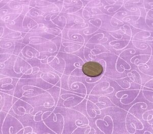 """Tonal Lavender Swirling Hearts *Fabric Traditions* 100% Cotton Remnant 22"""" x 8"""""""