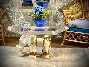 1:12 Dollhouse miniature elephant coffee table like porcelain glass effect top