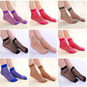10 Pairs Women Solid Color Elastic Thin Transparent Short Stockings Ankle Socks