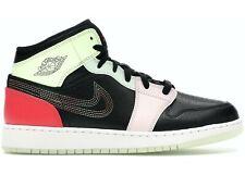 Air Jordan 1 Mid SE (GS) Black/Ember Glow In Dark Big Kids AV5174 076 Size 5Y