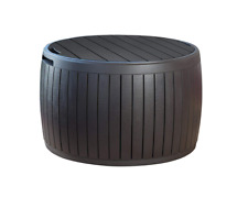 Keter 37 Gallon Circa Natural Wood Style Round Outdoor Storage Table Deck Box