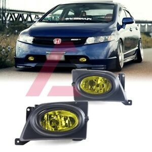 For Sedan Civic 06-08 Yellow Lens Pair Bumper Fog Light Lamp+Wiring+Switch Kit