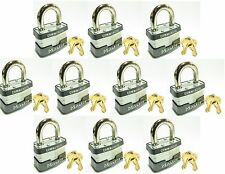 Lock Set by Master 1KA (Lot of 10) KEYED ALIKE Identical Same Laminated Padlocks