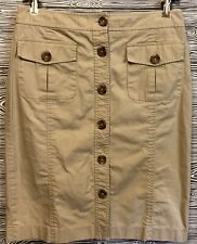 Vintage BANANA REPUBLIC Khaki 100% Cotton Button Down CARGO Midi Pencil Skirt 6