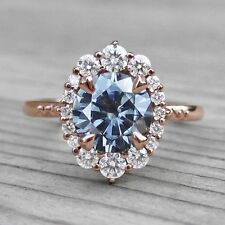 1.58ct Sapphire & Diamond Halo Engagement Ring In 14K Rose Gold