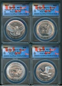Canada 2014-15 Eagle, Bison, Wolf, Owl ANACS MS70, 999 Silver one oz.