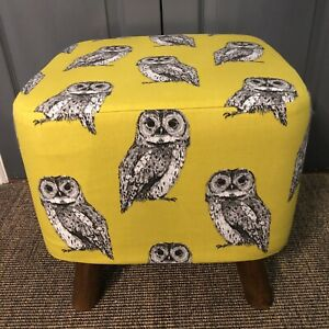 New Square Footstool With Handmade  Cover In Owl Fabric