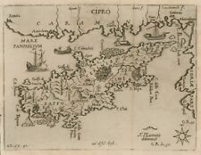 Original antique map of Cyprus Cipro Nicosia by Francesco Piacenza from 1688