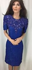 American Night Blue Silk Beaded & Sequined Dress Womens Size S