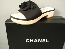 CHANEL 37 BLACK GROSGRAIN SILK CAMELLIA WOOD HEELS SANDALS MULES SLIDES CLOGS