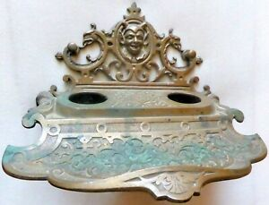 Antique Brass Inkwell With Devil Or Imp Head Signed