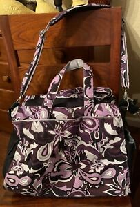JU-JU-BE Be Prepared Largest Size Purple Paisley Diaper Bag