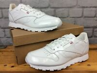 REEBOK UK 5.5 EU 38  CLASSIC WHITE PATENT LEATHER TRAINERS CHILDRENS GIRLS LG