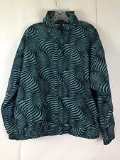 Vintage 90s Mens Xl Wind Jacket Turquoise Aqua Black Weird Stripe Nylon Argee