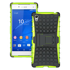 For Sony Xperia Z5 Green Heavy Duty Strong Tradesman TPU Hard Case Cover Stand