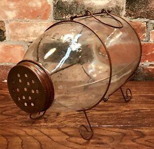 ORVIS Manchester, VT Large Vintage Glass Trap Minnow Catcher