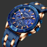 Mens Quartz Watch Deep Blue Face Steel Case 3 Dials Date Analog Display Casual