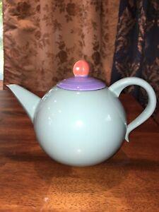 LINDT-STYMEIST COLORWAYS JAPAN teapot, teal-periwinkle blue lid 1980's EC