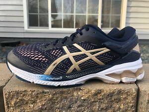 Women's Asics Gel Kayano 26 Running Shoes Size 8.5 Navy Blue/Pink/Gold