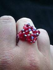 Anello realizzato a mano perline cristalli color rosso rubino