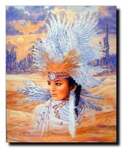 Native American Indian Maiden Headdress Wall Decor Art Print Picture (8x10)
