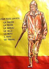 FRENCH 1960s MEN OUTDOOR RAINCOAT SUIT~WATERPROOF VINYL JACKET & PANTS~NEW&TAG~L