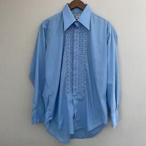 Vintage Mens Blue After Six Tuxedo Shirt Retro Prom Long Sleeve Shirt Ruffled