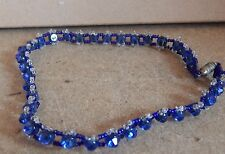 Necklace 14 inch barrel screw clasp Vintage Blue and Clear glass Choker