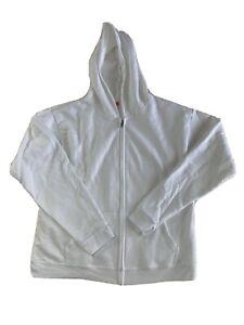 Hanes youth Size XL 14-16 Hoodie Hooded Sweatshirt White Full Zip Zipper