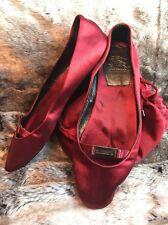Burberry  Of London ~ Traveling Slippers/ Ballerina Style ~ Burgundy Satin