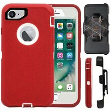 Apple iPhone 7 & 7 Plus Defender Case Cover (Belt Clip fits Otter Box) Red White
