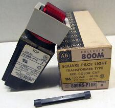 NOS Allen Bradley 800MS-P16R Red Square Pilot Light Transformer Type Ser B