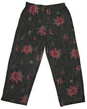 Chico's Travelers Oriental Flower Print Pants Sz. 3 XL 16 Black, Brick Red MINT!