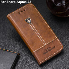Pu Leather Wallet Case Card Slots Shockproof Flip Cover 5.5'' For Sharp Aquos S2