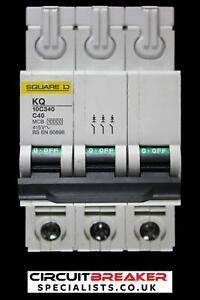 SQUARE D 40 AMP CURVE C 10 kA TRIPLE POLE MCB CIRCUIT BREAKER KQ 10C340